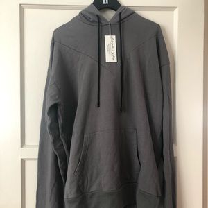 Emma and Sam Long hooded grey pull over